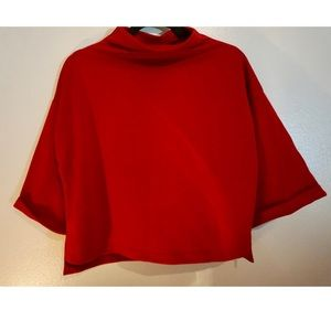 Cropped sweater with slight cowl neck